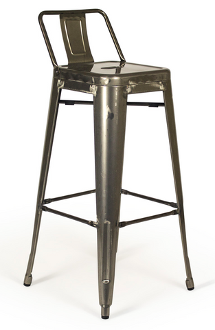 Tolix Low Back Gunmetal Bar Stool - Metal Industrial (Set of 2)
