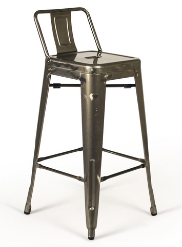 Tolix Low Back Gunmetal Counter Stool - Metal Industrial (Set of 2)