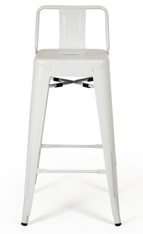 Tolix Low Back White Bar Stool - Metal Industrial (Set of 2)