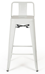 Tolix Low Back White Bar Stool - Metal Industrial (Set of 2) - YourBarStoolStore + Chairs, Tables and Outdoor