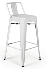 Tolix Low Back White Counter Stool - Metal Industrial (Set of 2) - YourBarStoolStore + Chairs, Tables and Outdoor