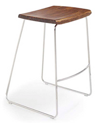 City Lights Paris Bamboo Backless Bar Stools Exotic Cognac & Steel - YourBarStoolStore + Chairs, Tables and Outdoor  - 1