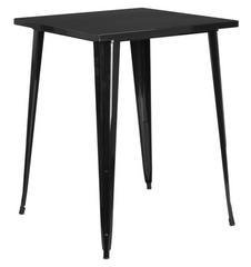 Tolix Style 31.5'' Square Bar Height Black Metal Indoor-Outdoor Table - YourBarStoolStore + Chairs, Tables and Outdoor