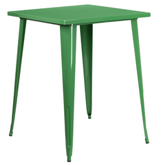 Tolix Style 31.5'' Square Bar Height Green Metal Indoor-Outdoor Table - YourBarStoolStore + Chairs, Tables and Outdoor