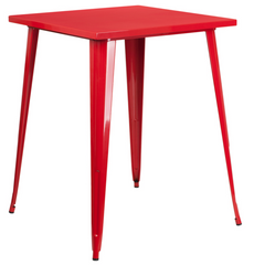 Tolix Style 31.5'' Square Bar Height Red Metal Indoor-Outdoor Table - YourBarStoolStore + Chairs, Tables and Outdoor