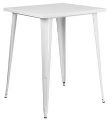 Tolix Style 31.5'' Square Bar Height White Metal Indoor-Outdoor Table - YourBarStoolStore + Chairs, Tables and Outdoor