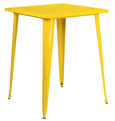 Tolix Style 31.5'' Square Bar Height Yellow Metal Indoor-Outdoor Table - YourBarStoolStore + Chairs, Tables and Outdoor