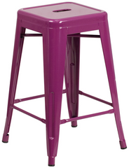 Tolix Style Backless Purple Metal Indoor-Outdoor Counter Height Stool - YourBarStoolStore + Chairs, Tables and Outdoor