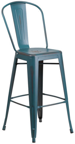 Tolix Style 30'' High Distressed Kelly Blue Metal Indoor/ Outdoor Barstool With Back