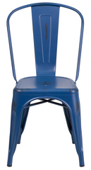 Distressed Tolix Style Distressed Antique Blue Metal Indoor-Outdoor Stackable Chair