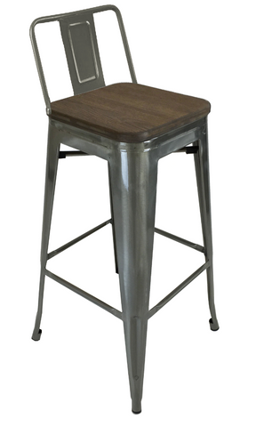 Tolix low back counter stool wood seat gunmetal on sale now yourbarstoolstore chairs - Tolix low back bar stool ...