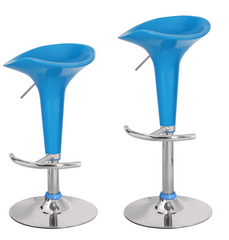 Baby Blue Backless Adjustable & Swivel Barstools (Set of 2)