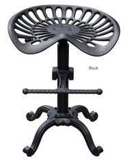 "Abbot Adjustable Height ""Tractor-Seat"" Dining Stool in Black Powder Coat by Diamond Sofa"