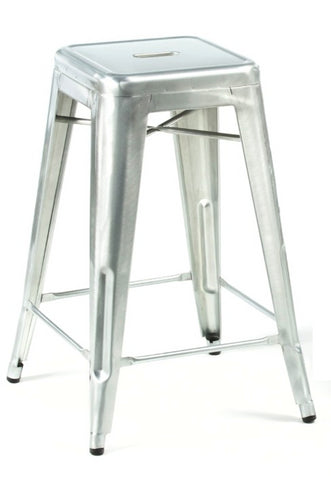 Stella counter stool Brushed Galvanized Steel