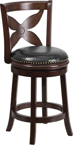Cappuccino Wood Counter Height Stool with Black Leather Swivel Seat
