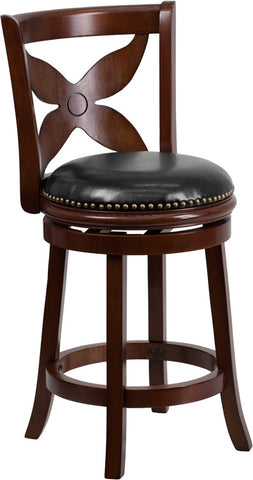 Cherry Wood Counter Height Stool with Black Leather Swivel Seat
