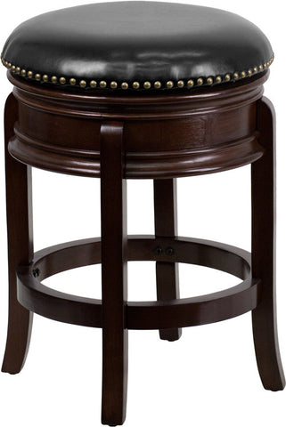 Backless Cappuccino Wood Counter Height Stool with Black Leather Swivel Seat