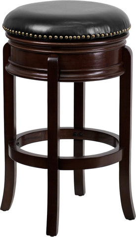 Backless Cappuccino Wood Bar Stool with Black Leather Swivel Seat