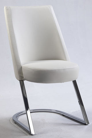 Chintaly Slight Concave Back Side Chair White Pu TAMI-SC-WHT