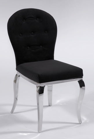 Chintaly Transitional Oval Back Side Chair Black Microfiber TERESA-SC-OVL