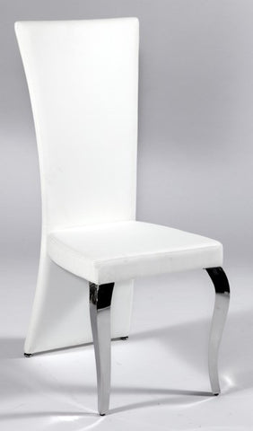 Chintaly Transitional Rectangular High Back Side Chair White Pu TERESA-SC-RCT-WHT