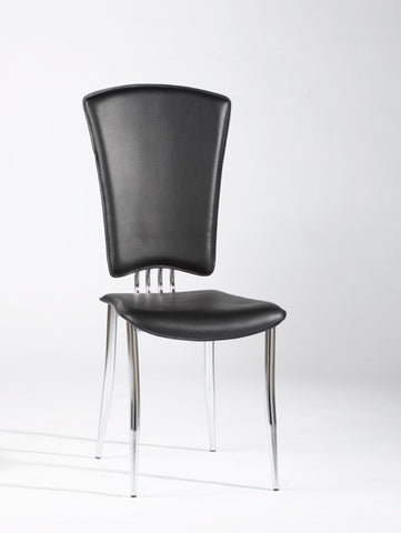 Chintaly Modern Side Chair Black Pvc TRACY-SC-BLK