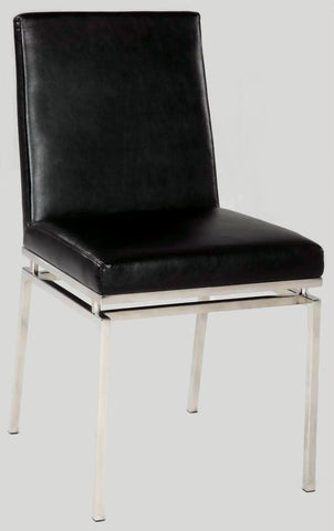 Chintaly Contemporary Black Side Chair Black Pu TYLER-SC-BLK