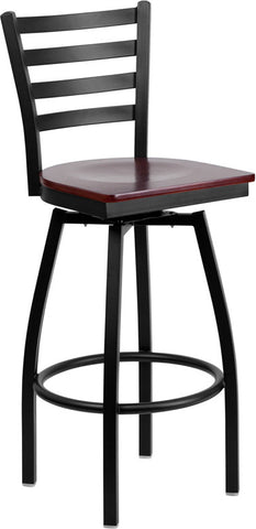 Black Ladder Back Swivel Metal Bar Stool - Mahogany Wood Seat