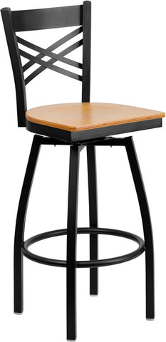 Black ''X'' Back Swivel Metal Bar Stool - Natural Wood Seat
