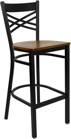 Black ''X'' Back Metal Restaurant Bar Stool - Cherry Wood Seat