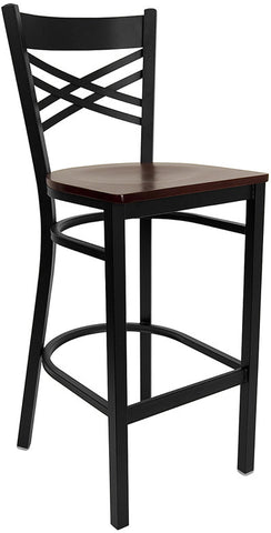 Black ''X'' Back Metal Restaurant Bar Stool - Mahogany Wood Seat