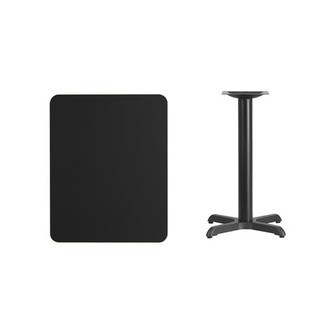 Rectangular Black Laminate Table Top with 22'' x 22'' Table Height Base