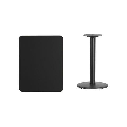 Rectangular Black Laminate Table Top with 18'' Round Table Height Base