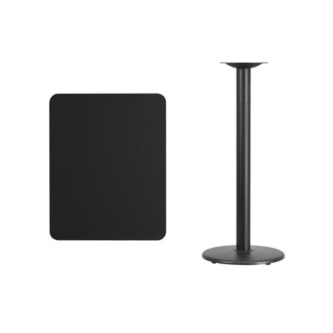 Rectangular Black Laminate Table Top with 18'' Round Bar Height Table Base