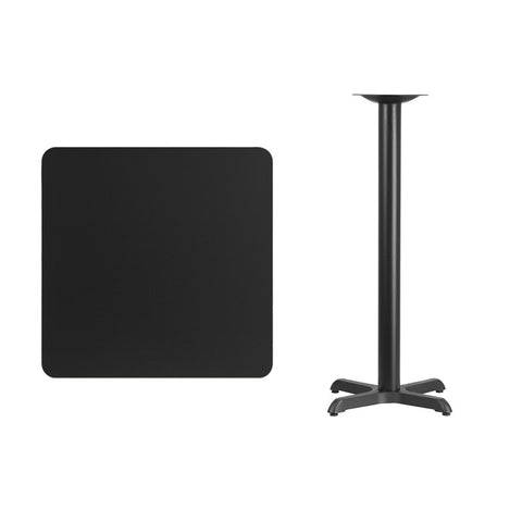 Square Black Laminate Table Top with 22'' x 22'' Bar Height Table Base