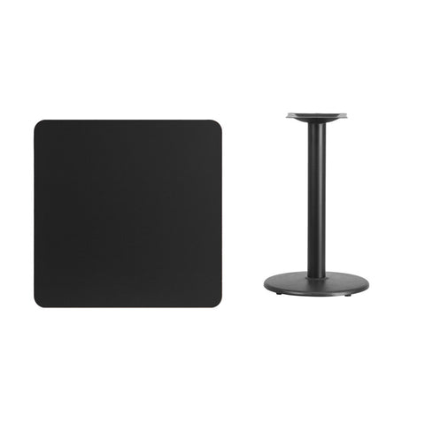Square Black Laminate Table Top with 18'' Round Table Height Base