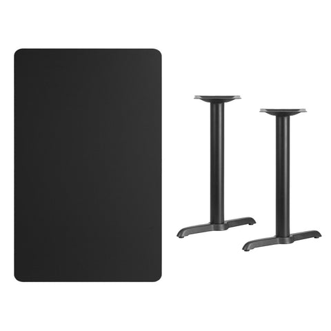 Rectangular Black Laminate Table Top with 5'' x 22'' Table Height Bases