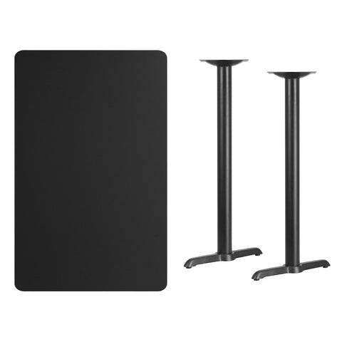 Rectangular Black Laminate Table Top with 5'' x 22'' Bar Height Table Bases