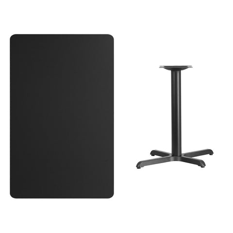 Rectangular Black Laminate Table Top with 22'' x Table Height Base