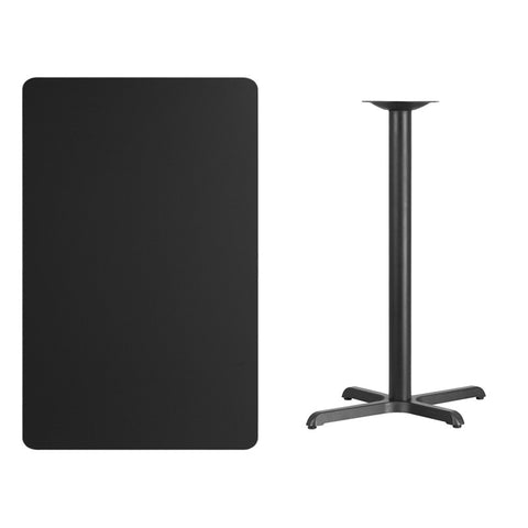 Rectangular Black Laminate Table Top with 22'' x Bar Height Table Base