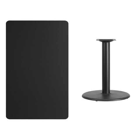 Rectangular Black Laminate Table Top with Round Table Height Base