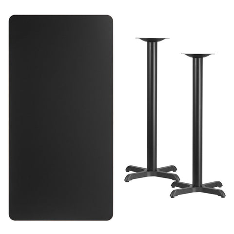Rectangular Black Laminate Table Top with 22'' x 22'' Bar Height Table Bases
