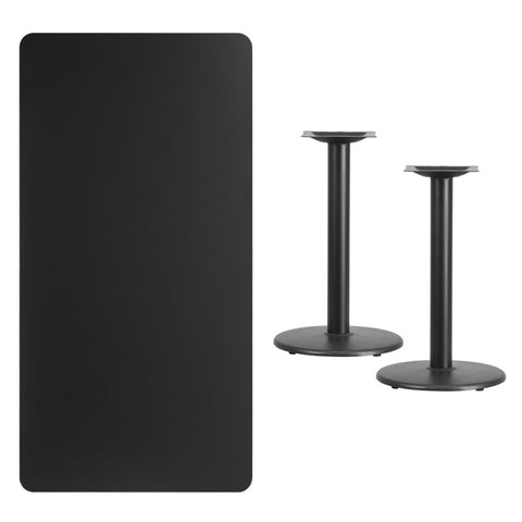 Rectangular Black Laminate Table Top with 18'' Round Table Height Bases