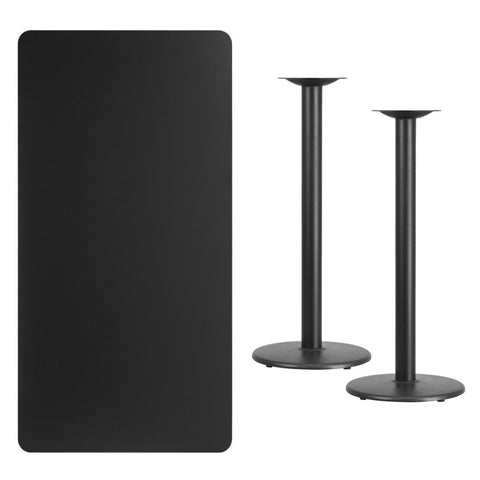 Rectangular Black Laminate Table Top with 18'' Round Bar Height Table Bases