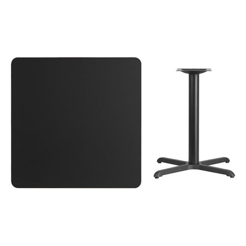 Square Black Laminate Table Top with x Table Height Base