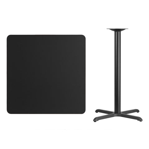 Square Black Laminate Table Top with x Bar Height Table Base
