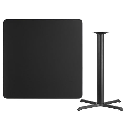 Square Black Laminate Table Top with 33'' x 33'' Bar Height Table Base
