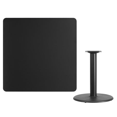 Square Black Laminate Table Top with Round Table Height Base