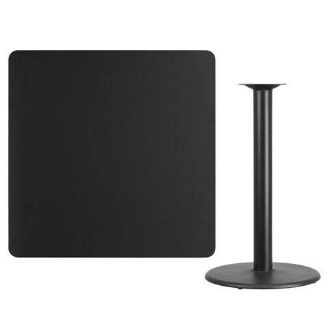 Square Black Laminate Table Top with Round Bar Height Table Base