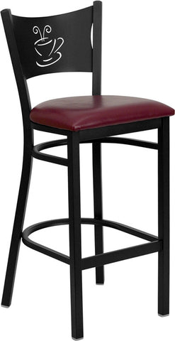 Black Coffee Back Metal Restaurant Bar Stool - Burgundy Vinyl Seat